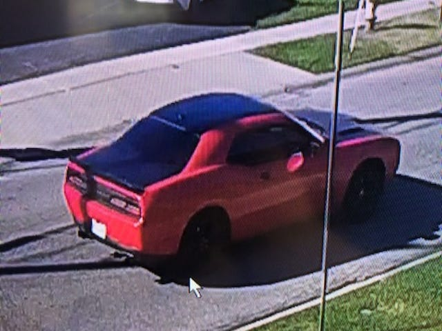 Police say the pedestrian sustained serious injuries after being struck by an orange or red Dodge Challenger (2016-2020 model) with a black hood, roof and trunk.