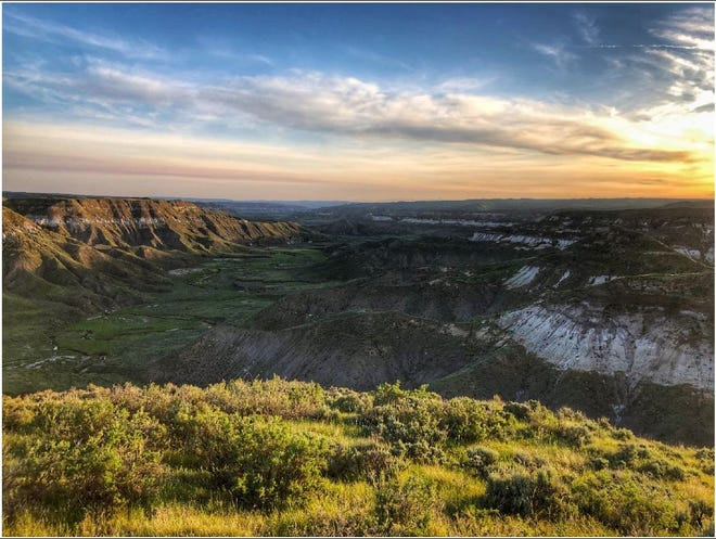 A view of the proposed Everson Bench Conservation Easement landscape looking north into the Arrow Creek Breaks of central Montana.