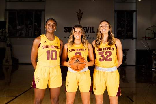 Juniors Iris Mbulito, Taya Hanson and Jayde Van Hyfte, left to right, will have expanded roles for Arizona State women's basketball in its pursuit of a seventh consecutive NCAA Tournament appearance.