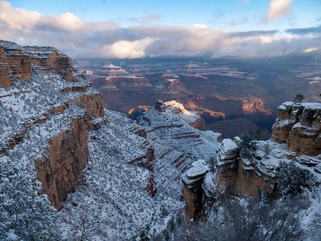 Four inches of snow fell in Grand Canyon Village overnight into Monday, Nov. 9, 2020, the National Park Service tweeted. Officials advised motorists to be cautious as roads and footpaths were snow-packed and icy as of 8:30 a.m.