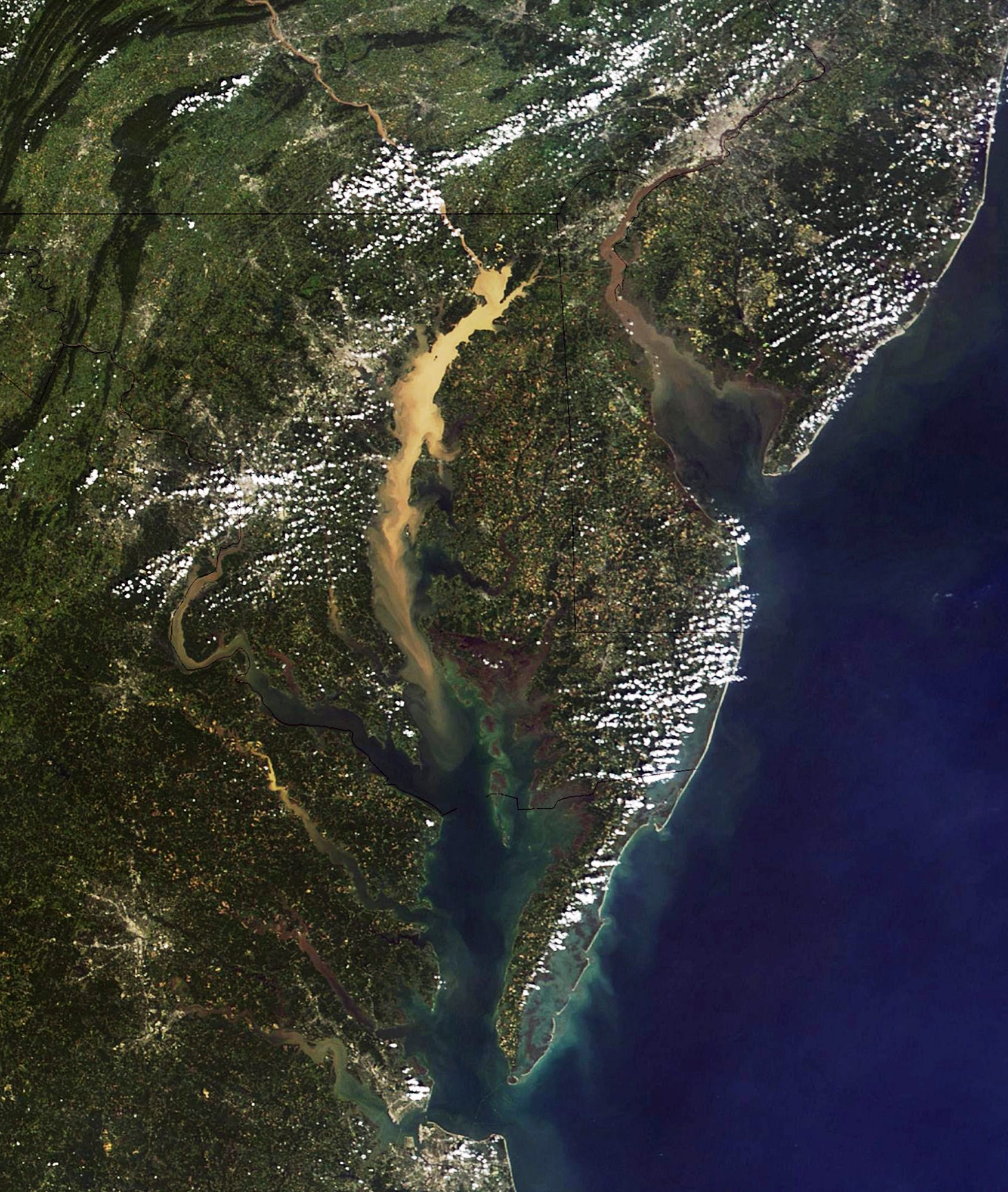 Plumes of sediment turned the water brown in both the Chesapeake and Delaware bays after Tropical Storm Lee in 2011.