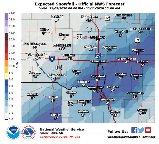 Up to six inches of snow possible for parts of southeast South Dakota on Tuesday