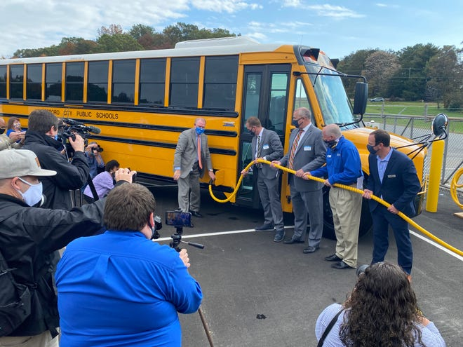 An electric bus bound for Waynesboro was on display at a press conference in October. In addition to Waynesboro, Augusta County will now be receiving two electric buses following school board approval on Nov. 5.
