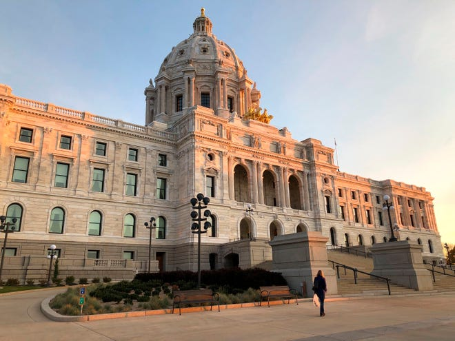 The Minnesota State Capitol in St. Paul is shown at sunrise on Tuesday, Oct. 29, 2019. (AP Photo/Steve Karnowski)