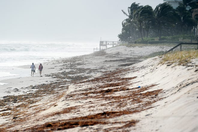 Gusty winds and strong surf continued to batter the beach at Conn Beach on Monday, Nov. 9, 2020, as Tropical Storm Eta moves through the Florida Straits and into the Gulf of Mexico. Overnight rains and wind contributed beach erosion prompting officials to close some beach access.