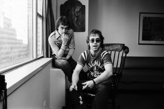 Lyricist Bernie Taupin, left, and singer-songwriter Elton John pose for a portrait in November 1970 in New York City.