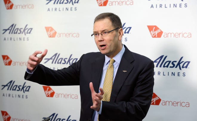 In this Monday, April 4, 2016, file photo, Alaska Airlines president and CEO Brad Tilden talks to reporters at the airline's corporate headquarters in Seattle. On Monday, Nov. 9, 2020, Alaska Air Group said that Tilden will retire as CEO on March 31 after leading Alaska for the past eight years.
