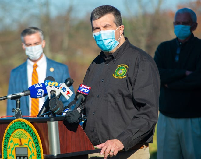 Emergency Services Director Scott T. Forster, speaks about the upswing in COVID-19 cases in Bucks County during a news conference Tuesday, November 10, 2020, at the General Services Warehouse in Warrington.