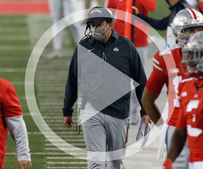 Ohio State coach Ryan Day watches during the second half of the team's NCAA college football game against Rutgers on Saturday, Nov. 7, 2020, in Columbus, Ohio. Ohio State won 49-27.