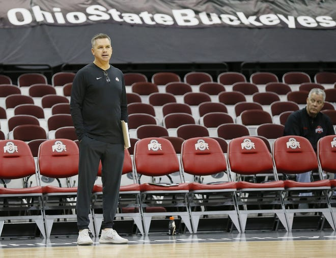 Ohio State Buckeyes head coach Chris Holtmann watches from the sideline during the shoot-around prior to the game later that evening against Penn State at Value City Arena in Columbus on Feb. 7, 2019. [Adam Cairns/Columbus Dispatch]