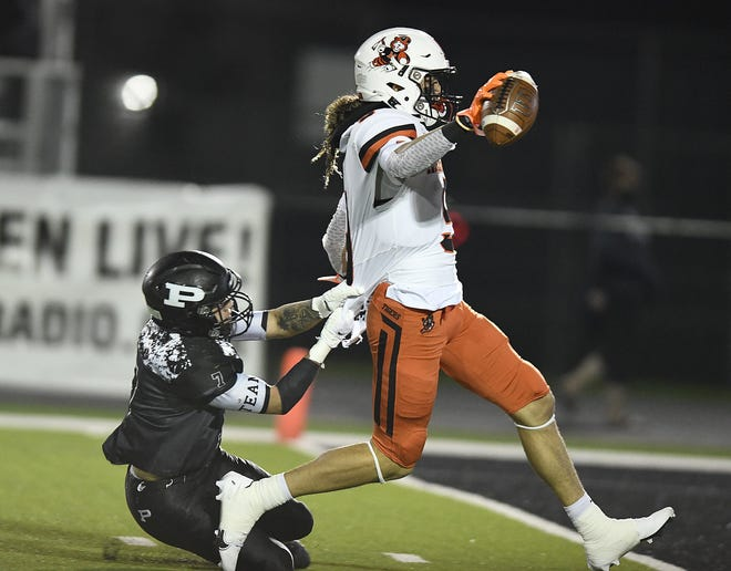 Receiver Jayden Ballard of Massillon Washington caught seven passes for 150 yards and scored three touchdowns in a 43-13 win over Massillon Perry last week in a Division II regional final.
