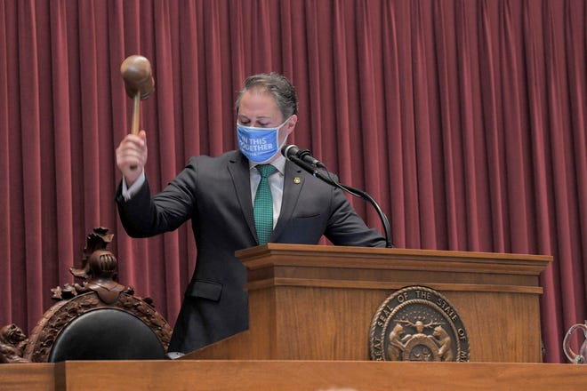 House Speaker Elijah Haahr, R-Springfield, presides over a special session of the legislature on Tuesday.