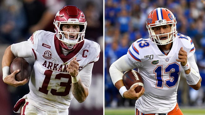 At left, Arkansas quarterback Feleipe Franks rushes for a big gain against Texas A&M during the game Oct. 31 in College Station, Texas. At right, Franks pictured running the ball against Kentucky during the game Sept. 14, 2019, in Lexington, Ky.