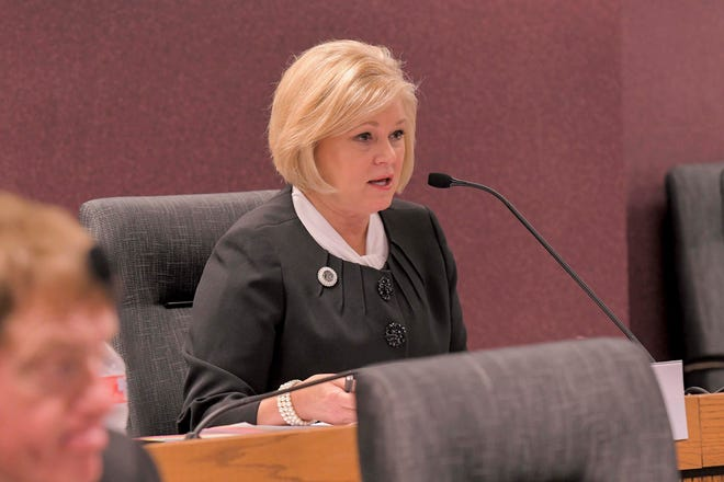Rep. Sheila Solon, R-St. Joseph, chair of the Children and Families Committee of the Missouri House of Representatives, speaks during a hearing to discuss unlicensed youth residential facilities operating throughout the state.