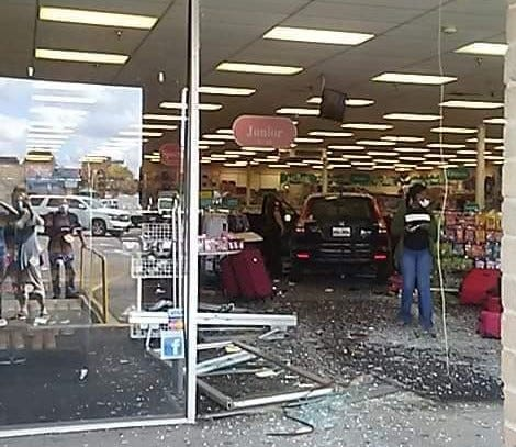 A vehicle crashed through the Citi Trends store Monday in Thibodaux. No injuries were reported.