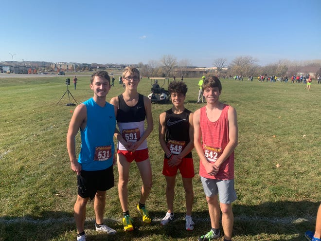 DCG cross country stars Dawson Assink, Aiden Ramsey, Jacob Ewers, and Blake Croushore  at the XLR8 Showdown on Saturday, Nov. 7 in Ankeny.