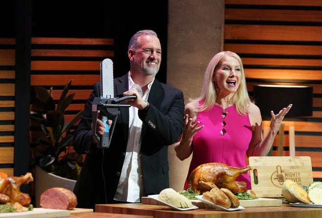 """DeBary couple Lance and Kim Burney pitch the Mighty Carver on """"Shark Tank."""" The product, invented by Kim, is an electric carving knife that looks and sounds like a chainsaw."""