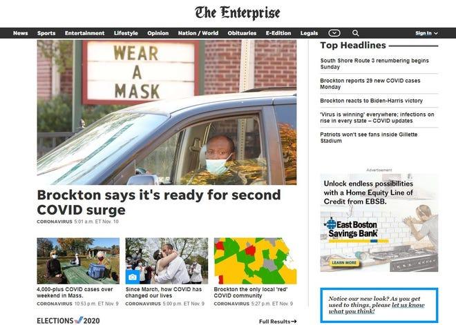 A screenshot shows the homepage of the redesigned enterprisenews.com.
