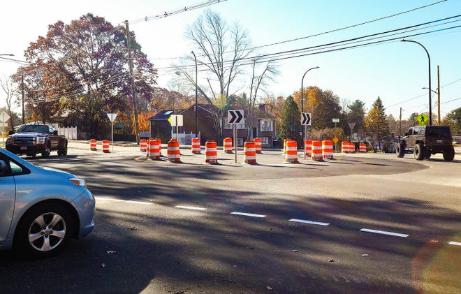 A new roundabout is open at the intersection of North Quincy and Boundry Streets in the city of Brockton and North Quincy and Chestnut Streets in the two of Abington on Tuesday, Nov. 10, 2020. The roundabout is the first to be put in service in the city of Brockton.