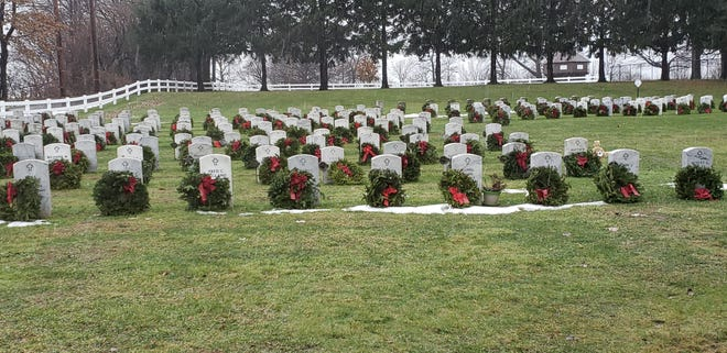Members of the Presque Isle Chapter of the Daughters of the American Revolution and community volunteers in December 2019 placed wreaths on all 1,334 graves at Veterans Memorial Cemetery on the grounds of Erie's Pennsylvania Soldiers' & Sailors' Home.