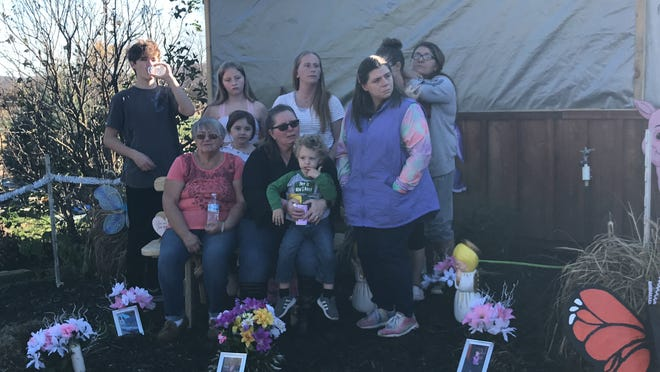 The family all gathered in Leah's Butterfly Garden to honor her memory at the dedication ceremony.
