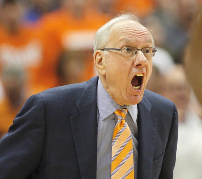 Syracuse basketball coach Jim Boeheim yells to his players during a Feb. 22, 2017, game against Duke in the Carrier Dome.