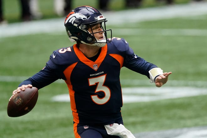 Denver Broncos quarterback Drew Lock (3) works in the pocket in Sunday's game in Atlanta. The Broncos have started 3-5 under the former University of Missouri and Lee's Summit High School star.