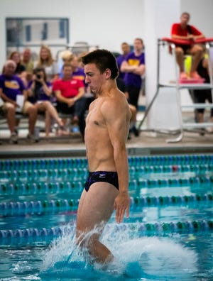 Blue Springs' Josiah Thomson completes a dive during a meet last year. This season Thomson has shattered both the six- and 11-dive school records and heads to Friday's state meet in St. Peters as one of the favorites for a state title.