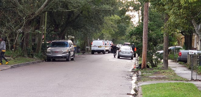 Jacksonville police work the crime scene of a deadly shooting Tuesday in the 1500 block of West 23rd Street.