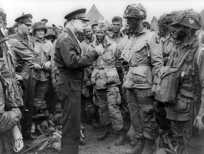 Earl Mills of Live Oak was among the men in the 101st Airborne Division who were addressed by Allied Supreme Commander Dwight D. Eisenhower on the evening before D-Day.