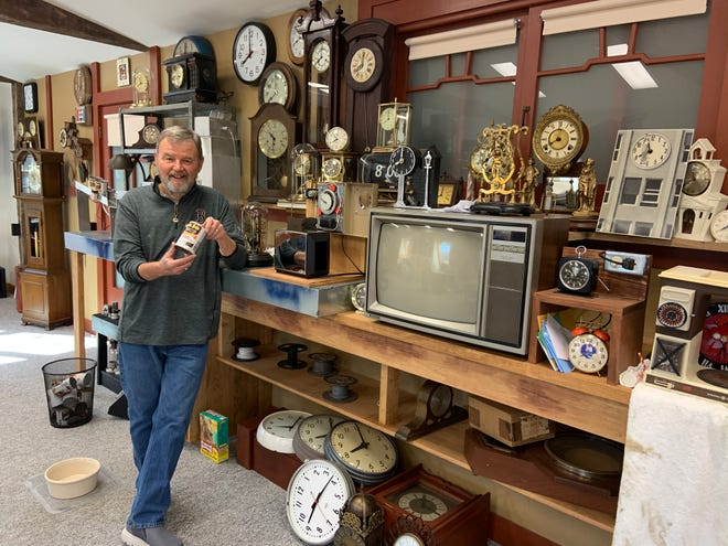"""Bill Shea of Hubbardston, who is an avid collector of """"Back to the Future memorabilia,"""" is nearly finished a recreation of the movie's opening scene for a soon-to-be-revealed project."""