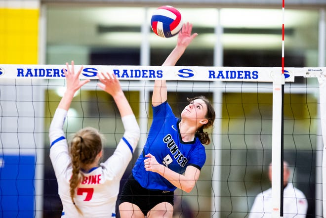 Gunter's Rayanna Mauldin led the Lady Tigers with 14 kills during a sweep of Sabine in a Class 3A Region II semifinal at Sunnyvale. Gunter is now one win from the state tournament.