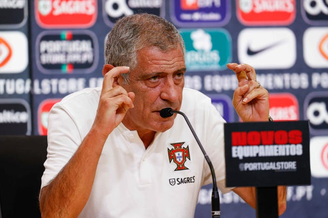 Portuguese national soccer team head coach Fernando Santos speaks during a press conference held today ahead of tomorrow's match with Andorra to be played in Portugal.