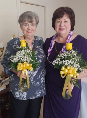 SIGMA, a social and service sorority is part of Beta Sigma Phi, an international organization dedicated to life, learning and friendship. Recently, the sorority held a Pledge ceremony for new members, (L) Norma Daniels and Pam Westbrook. They received a Pledge Pin and a Yellow Rose. [CONTRIBUTED PHOTO]
