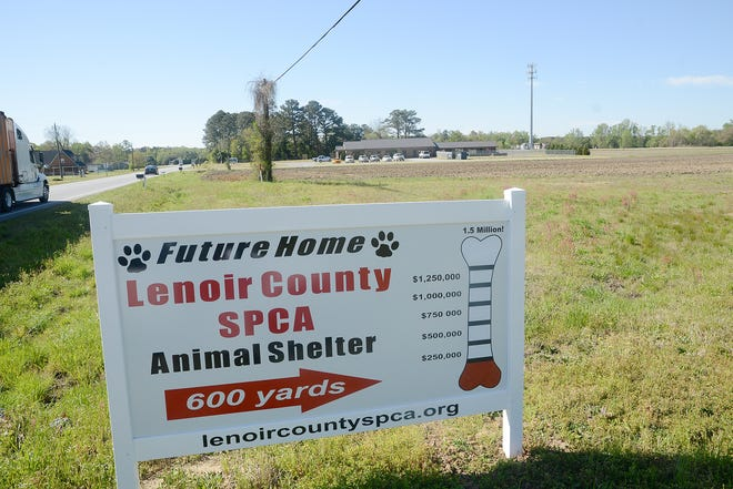 A sign for the future home of the Lenoir County SPCA Animal Shelter has been in place about 2 weeks now as it sits Thursday just off U.S. 258 near Countryview Animal Hospital.