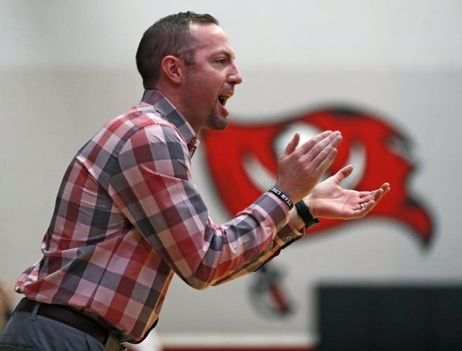 Lubbock-Cooper girls basketball coach Kyle Lovorn yells out to his players during a District game against Amarillo High on Jan. 14, 2020 at Lubbock-Cooper High in Woodrow.