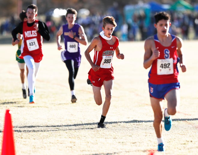 Christoval High's Ben McCann nears the finish line finishing  6th with a time of 18:34.80 in the Class 2A boys 5K race at the UIL Region I Cross Country Meet at Mae Simmons Park Tuesday, Nov. 10, 2020.