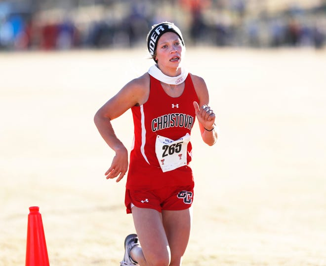Christoval High's Allison Vaughn nears the finish line finishing 2nd with a time of 12:47.60 in the Class 2A girls 2 mile race at the UIL Region I Cross Country Meet at Mae Simmons Park Tuesday, Nov. 10, 2020. (Mark Rogers/For A-J Media)