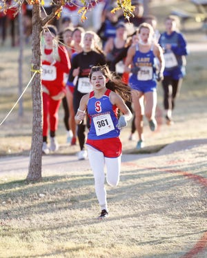 Sundown High's Gabby Peralta came in 6th with a time of 13:18.30 in the Class 2A girls 2 mile race at the UIL Region I Cross Country Meet at Mae Simmons Park Tuesday, Nov. 10, 2020. (Mark Rogers/For A-J Media)