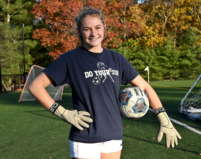Medway High girls soccer sophomore goalie Callahan Cottone.