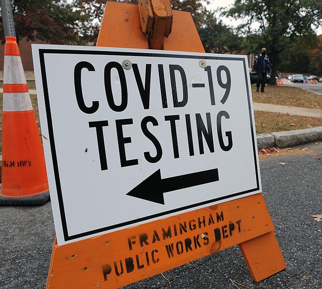A sign directs the public to free coronavirus testing in Framingham. The state reported 2,047 new cases of COVID-19 on Tuesday, the third time in the past five days that more than 2,000 cases were announced in a single day.