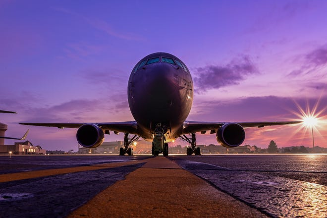 A KC-46A Pegasus assigned to the 916th Air Refueling Wing sits on the flightline at the Pittsburgh International Airport Air Reserve Station, Pa., Oct. 21, 2020. The KC-46A was brought to Pittsburgh to allow members of the 911th Aeromedical Evacuation Squadron to familiarize themselves with the aircraft to prepare for real-world missions.