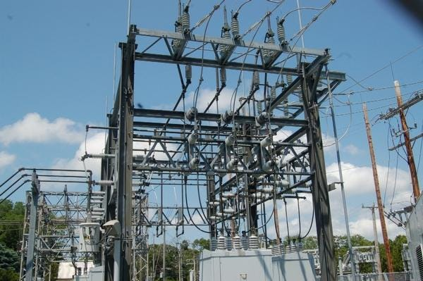 An electric substation. Staff photo by Rich Eldred