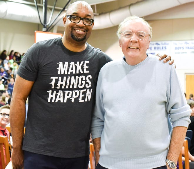 Best-selling children's book author Kwame Alexander (left) and blockbuster novelist James Patterson will discuss their new book Becoming Muhammad Ali in a virtual conversation Thursday.