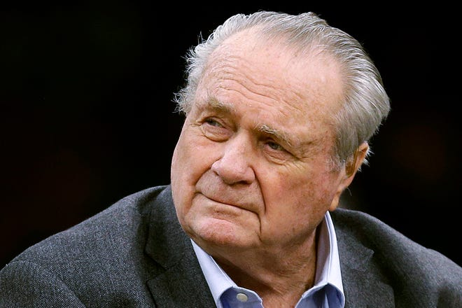 Tommy Heinsohn, shown here in 2018, was a Boston Celtics player, coach and broadcaster was with the team for all 17 of its NBA championships, has died.