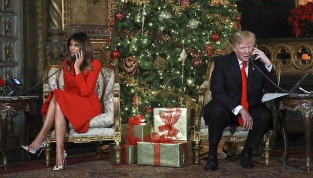 During their visit to Mar-a-Lago in 2017, President Donald Trump and first lady Melania Trump called children waiting for Santa on Christmas Eve.
