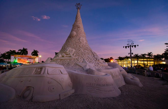 Don't miss West Palm Beach's Sandi this holiday season. Made of 700 tons of fine grain sandi, this one-of-a-kind holiday tree will be ready to light the night with music and good cheer on Dec. 5.