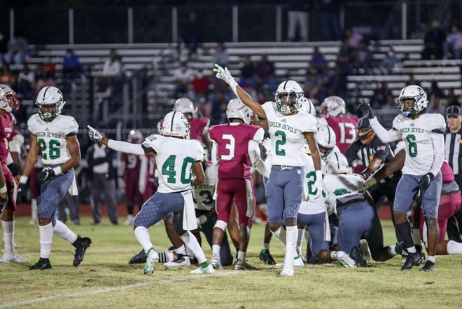 The Plaquemine Green Devils, seen here in action Friday at Istrouma, won the District 7-4A title in a 52-27 win over the Indians. PHS visits Broadmoor on Friday.