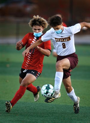 Aaron DeGala (8) and the Tiverton boys soccer team posted a 2-0 win over Rogers on Wednesday.