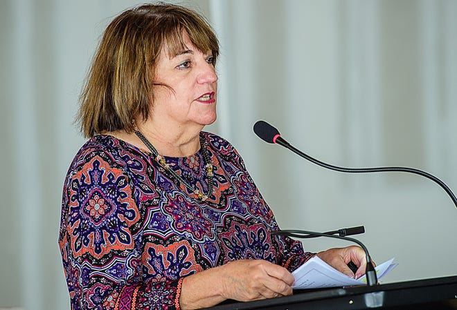 St. Johns County School Board member Beverly Slough speaks at a ceremony in 2020.  [FILE PHOTO]